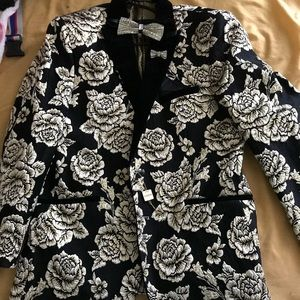 Velvet,flower print blazer with/w out bow